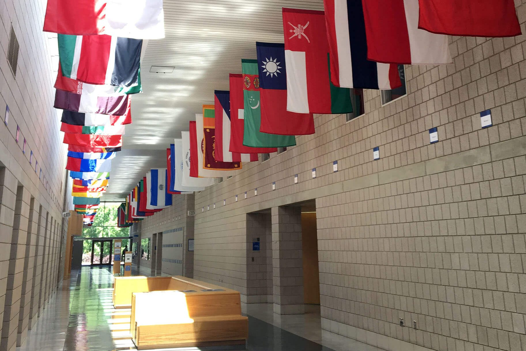 the flags in the halls of Fuqua symbolize the student diversity, one of the reasons why the MMS program was right for me