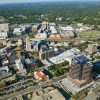 aerial shot of downtown Durham, things to do before moving to Durham