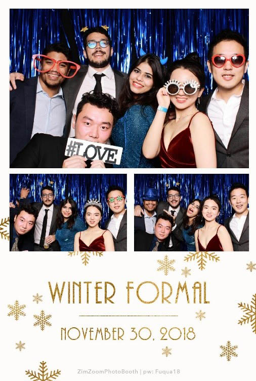 6 students featured in a photo booth collage from Winter Formal, one of the student events