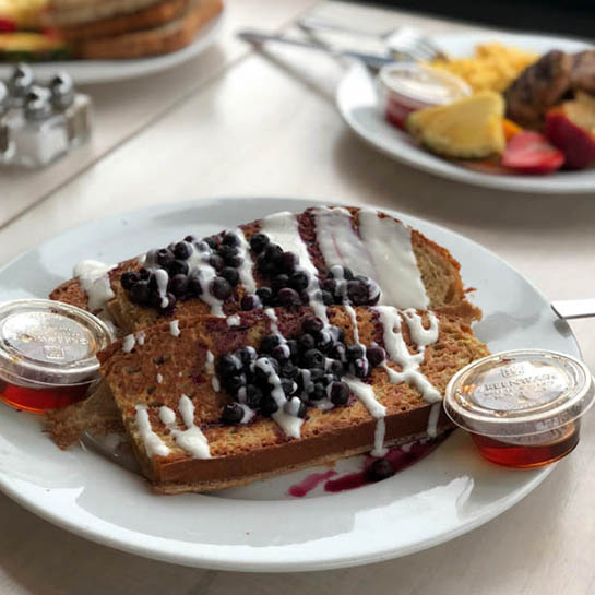 iced blueberry toast from Mad Hatter, one of Lily's brunch recommendations