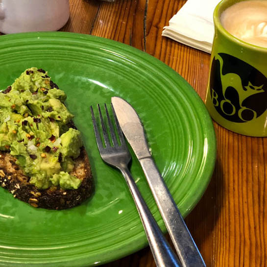 avocado toast and coffee at Parker and Otis, one of Lily's brunch recommendations