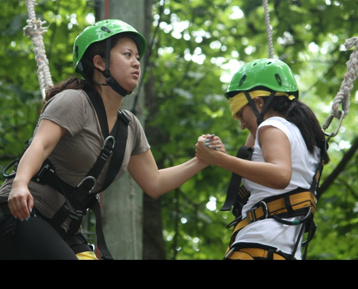 On the high ropes during teambuilding exercises at orientation