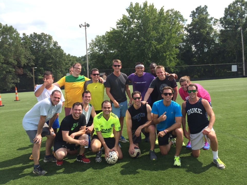 An impromptu soccer game was a Durham residency stress-reliever for my classmates