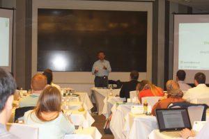 Eko CEO Abhishek Sinha talks to a Duke Fuqa Cross Continent MBA Marketing class