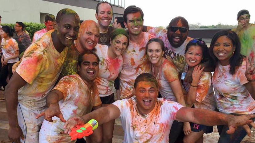 students celebrating Holi symbolizes the diversity at Fuqua