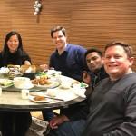 6 classmates around a restaurant table, next step in my career