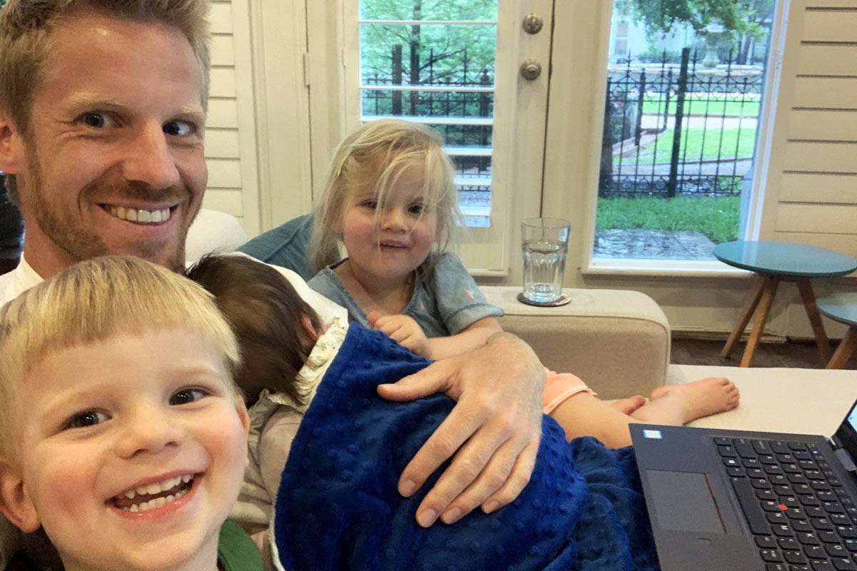 Alexander with his 3 children; work-life balance