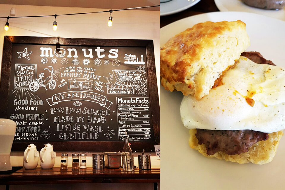 the welcome board and a biscuit from Monuts, a great spot for brunch in Durham