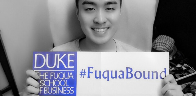 Holding up my #FuquaBound banner I received in the admit pack, just prior to being enrolled in MQM