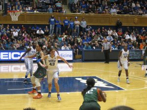 Duke Fuqua students attending a Duke Women's basketball game