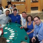 Students and partners at the blackjack table