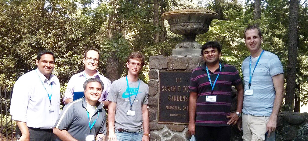 Exploring Duke campus with my team during a scavenger hunt at orientation