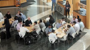 Duke Fuqua Weekend Executive MBA students eating lunch at the Fox Center