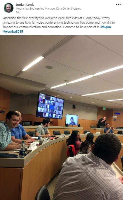 A LinkedIn post from student Jordan Lewis of students sitting in a classroom during Hybrid Saturday classes, a new part of Fuqua's Weekend Executive MBA format
