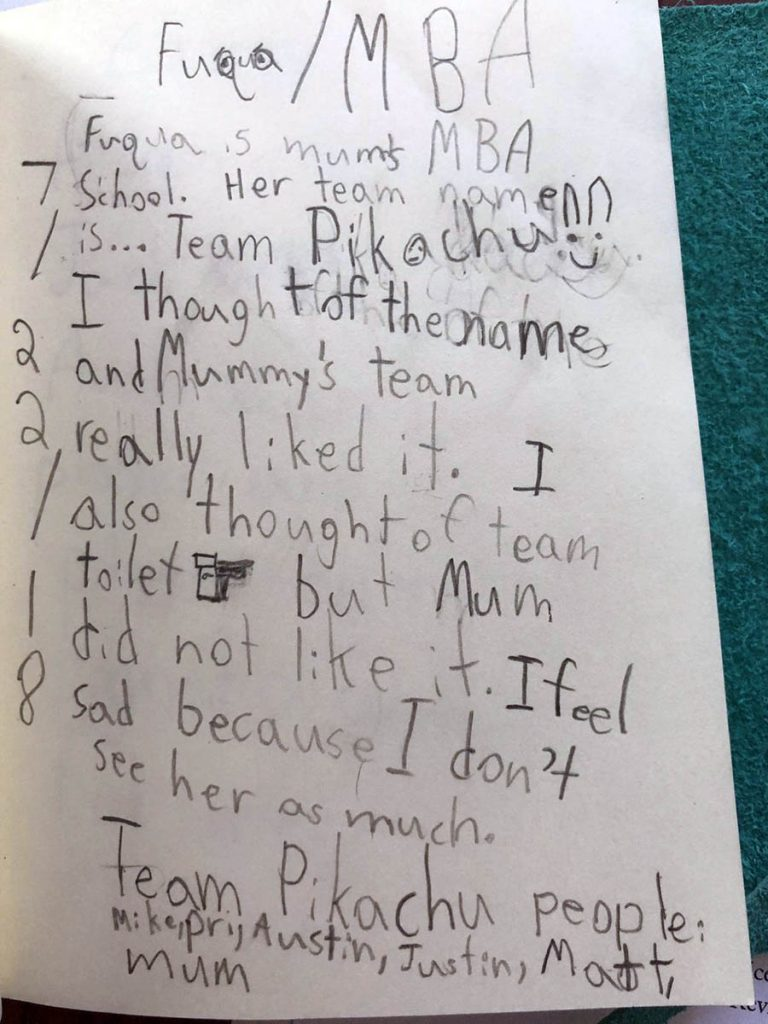 "Jenny's family: a note written by her son that explains how he named her team ""Pikachu"""
