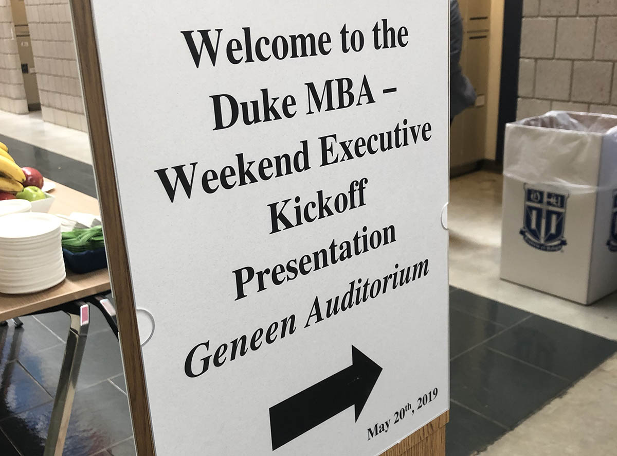 A welcome sign from orientation for the Class of 2020; sharpen the axe
