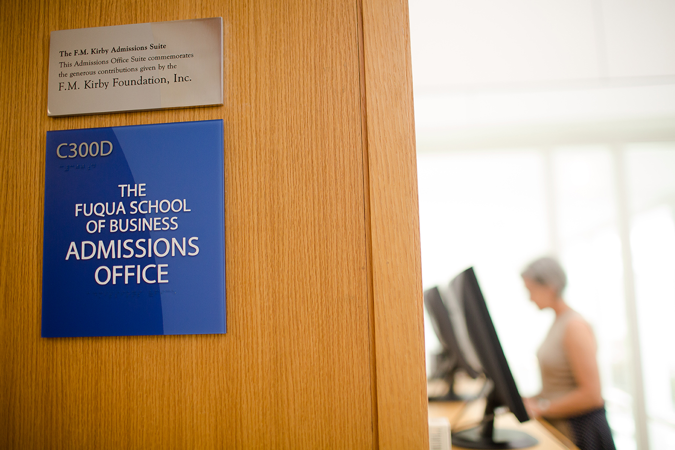 the admissions office sign at Fuqua; how to submit a competitive application